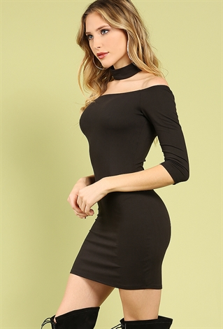 445fcadb17a Off-The-Shoulder Choker Bodycon Dress | Shop Off-The-Shoulder at ...