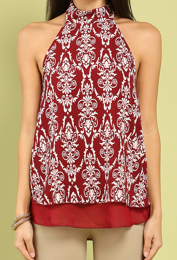 fcf8d4231c6 Tiered Abstract Print Halter Top   Shop Old Office Wear at Papaya Clothing