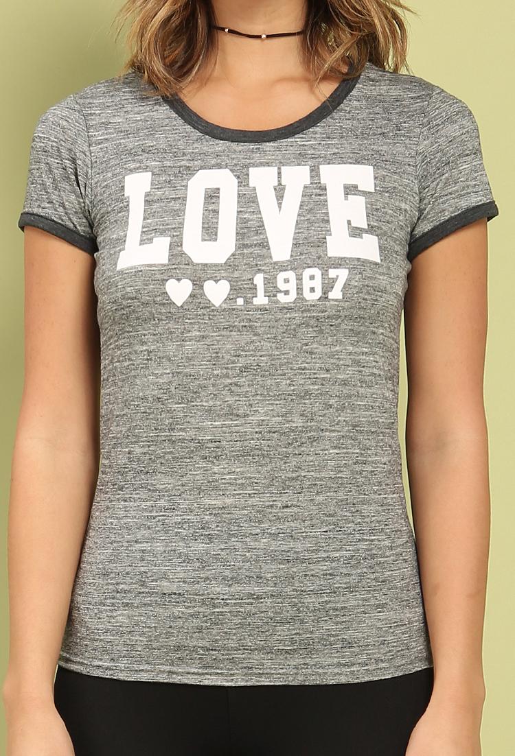 2aae2cc7 Active Marled LOVE Graphic Ringer Tee | Shop at Papaya Clothing