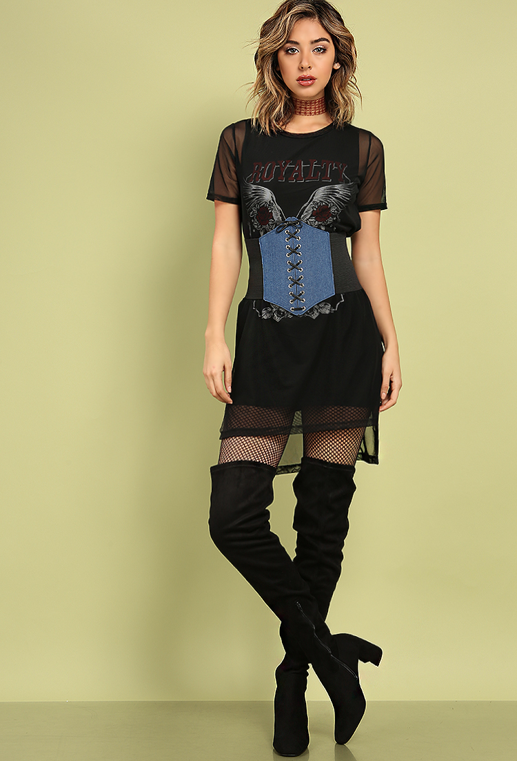 layered mesh rock n roll graphic dress shop old mini dresses at