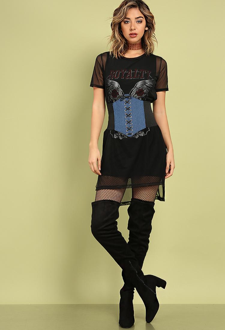 Layered Mesh Rock N 39 Roll Graphic Dress Shop Dresses At Papaya Clothing