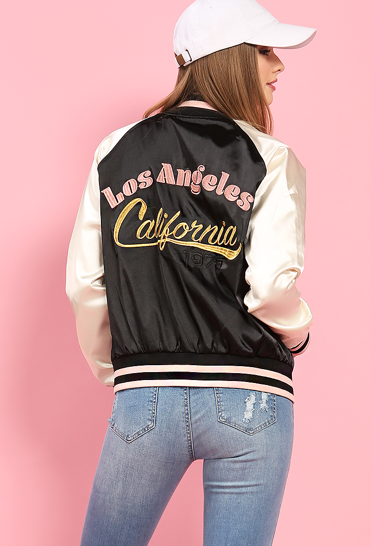 Satin embroidered los angeles graphic bomber jacket shop