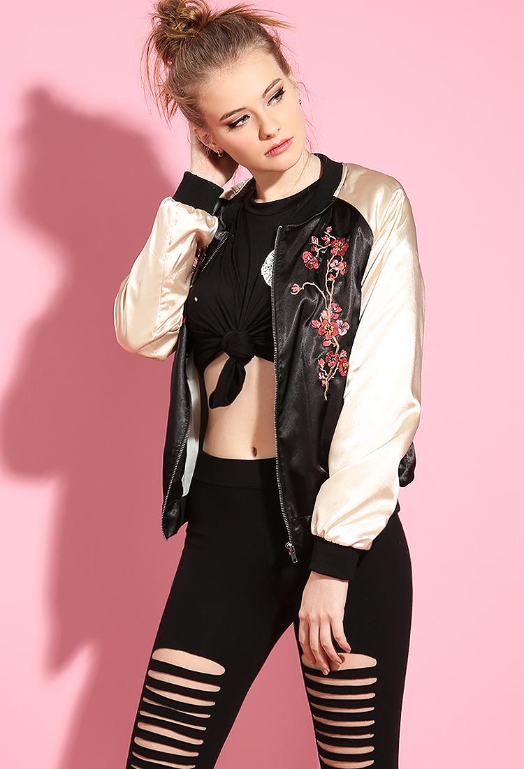 Satin floral embroidered bomber jacket shop jackets at