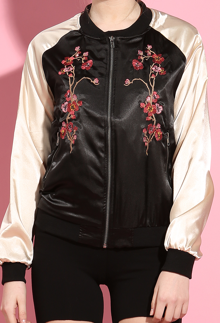 Satin floral embroidered bomber jacket shop outerwear at