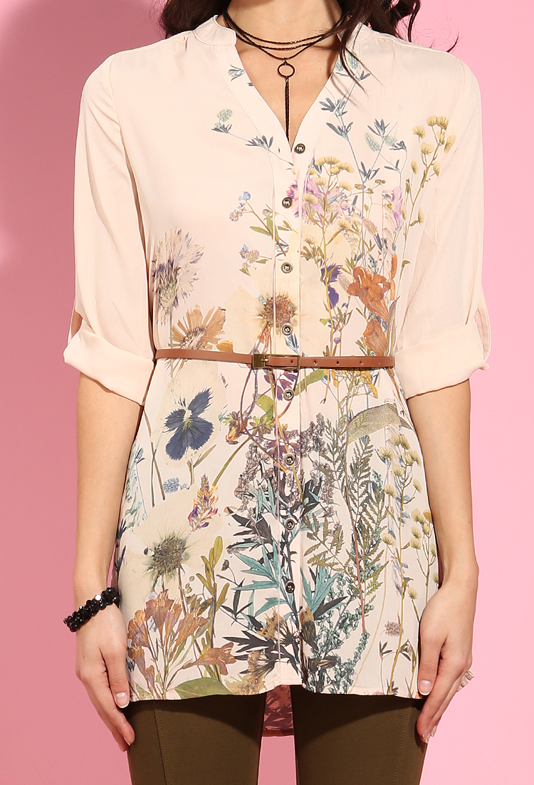 Belted floral print button up tunic shop blouse shirts for Floral print button up shirt