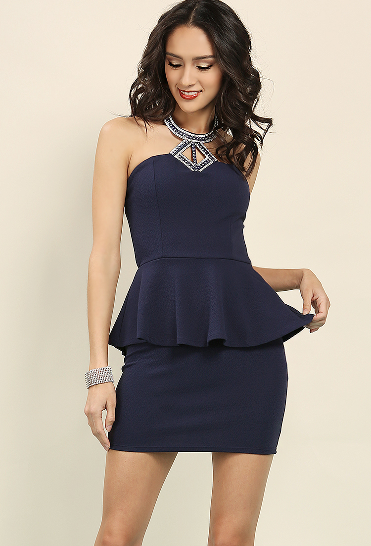 Pearl Embellished Peplum Halter Dress