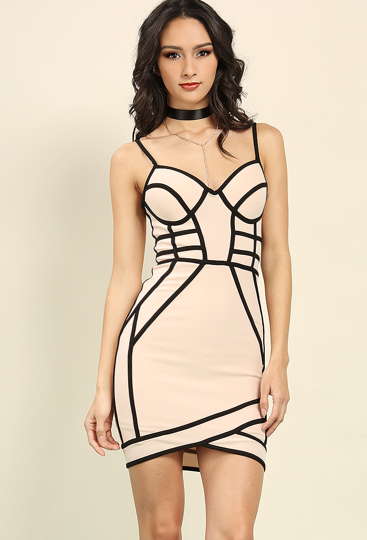 Padded Contrast Piping Bodycon Dress