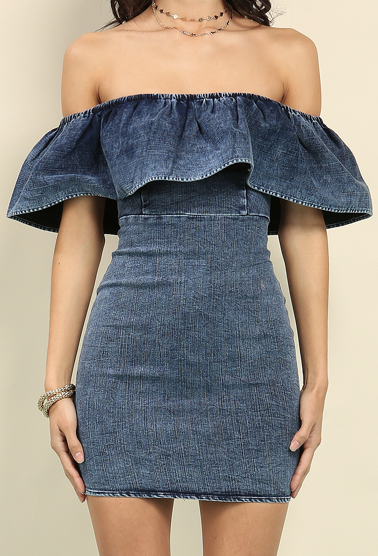 Denim Flounce Off-The-Shoulder Mini Dress