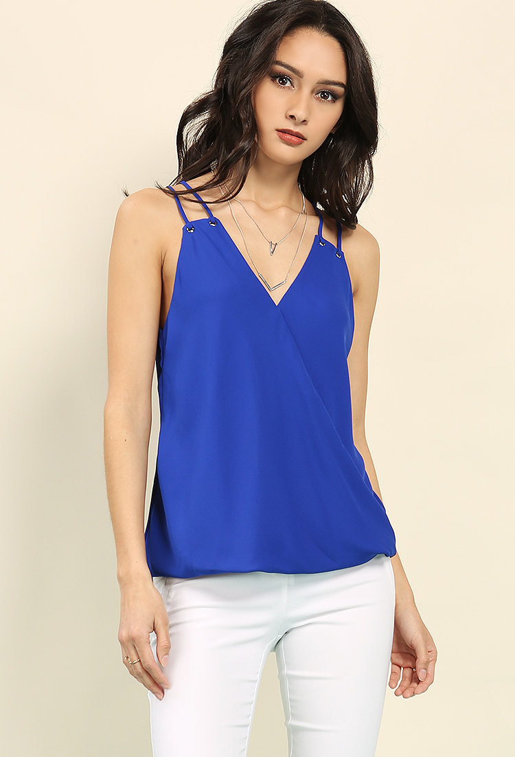 Chiffon Grommet Detail Surplice Top