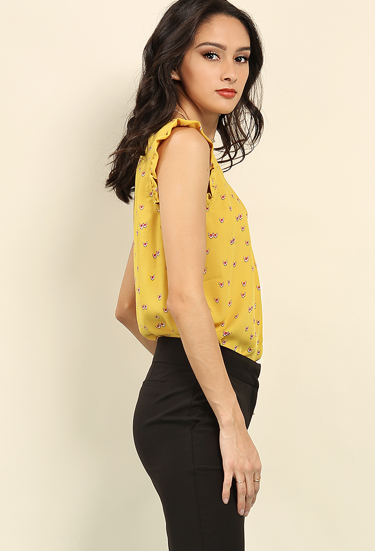 Ruffled Cap-Sleeve Fox Print Top