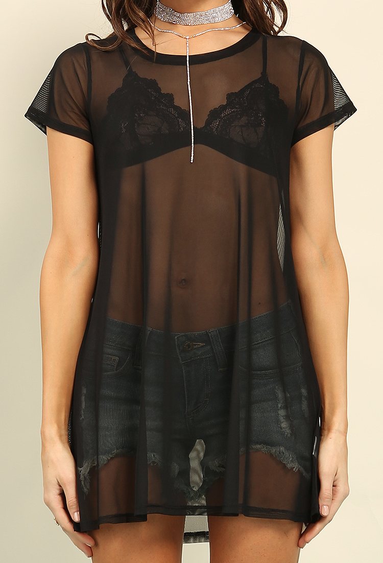 Sheer Mesh Mini T-Shirt Dress