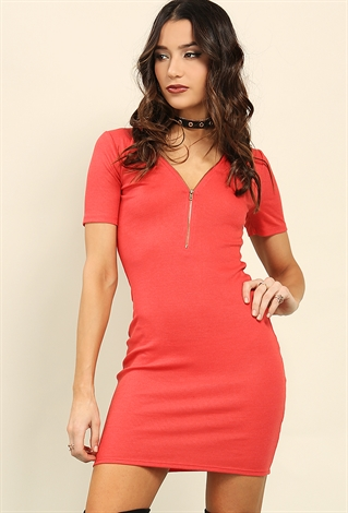 Zippered Ribbed Mini Dress