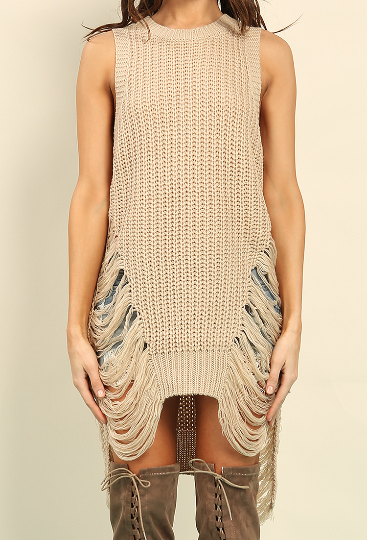 Distressed Ribbed Sweater Dress