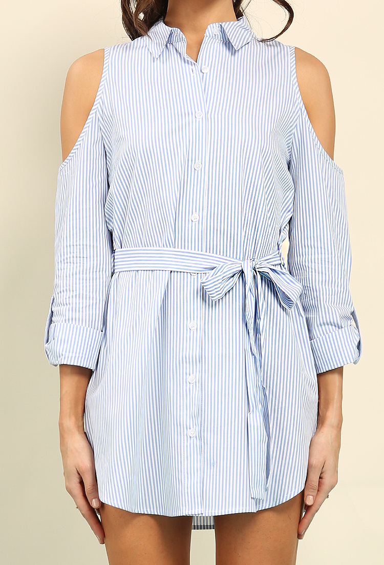 f2cad8e970fd Belted Stripe Open-Shoulder Button-Up Shirt Dress