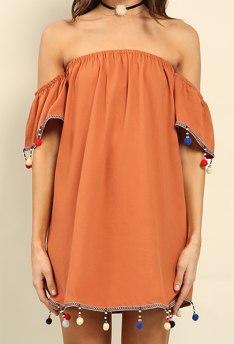 Pom Pom Trimmed Off-The-Shoulder Dress