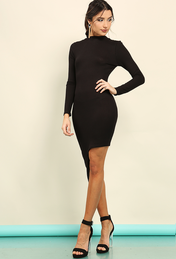 Reversible Ribbed Asymmetrical Cutout Dress