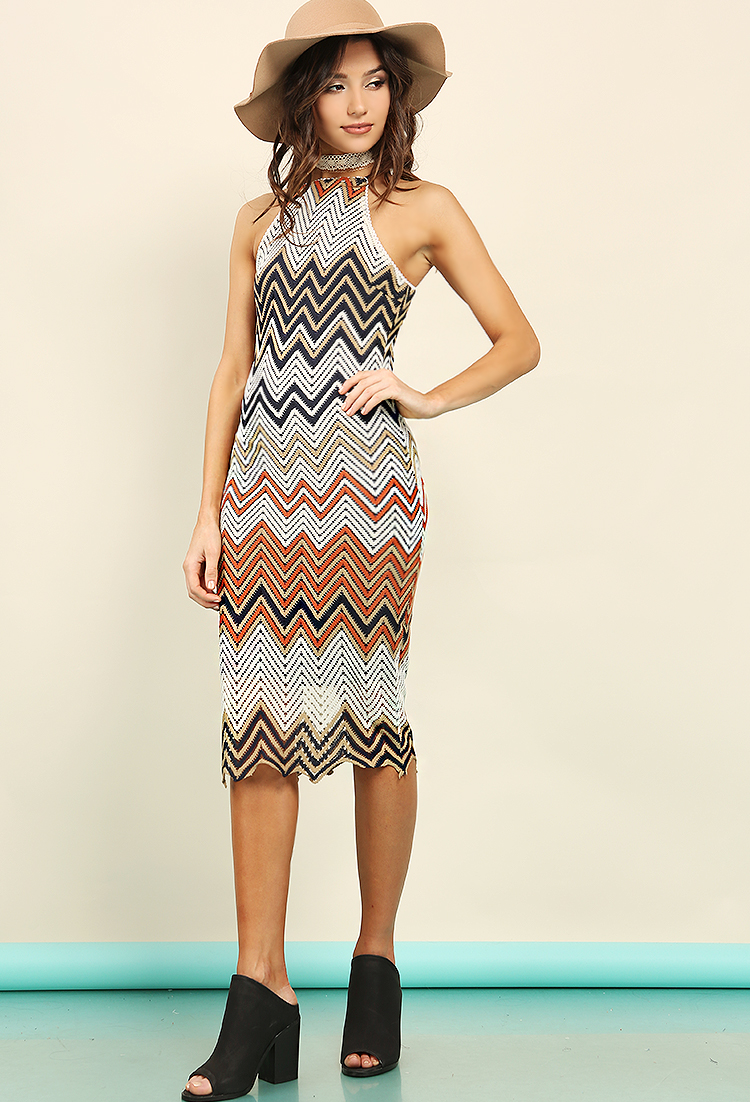 5c76a1e5f7ab Lined Chevron Crochet-Knit Midi Dress | Shop Old Dresses at Papaya Clothing