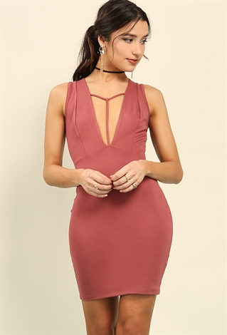 Plunging T-Strap Bodycon Dress