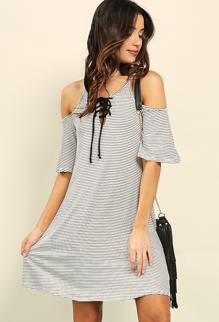 Striped Open-Shoulder Lace-Up Dress