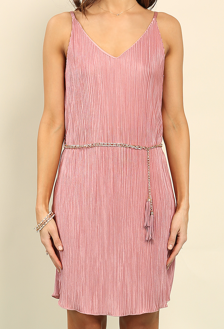 Belted Accordion-Pleated Slip Dress