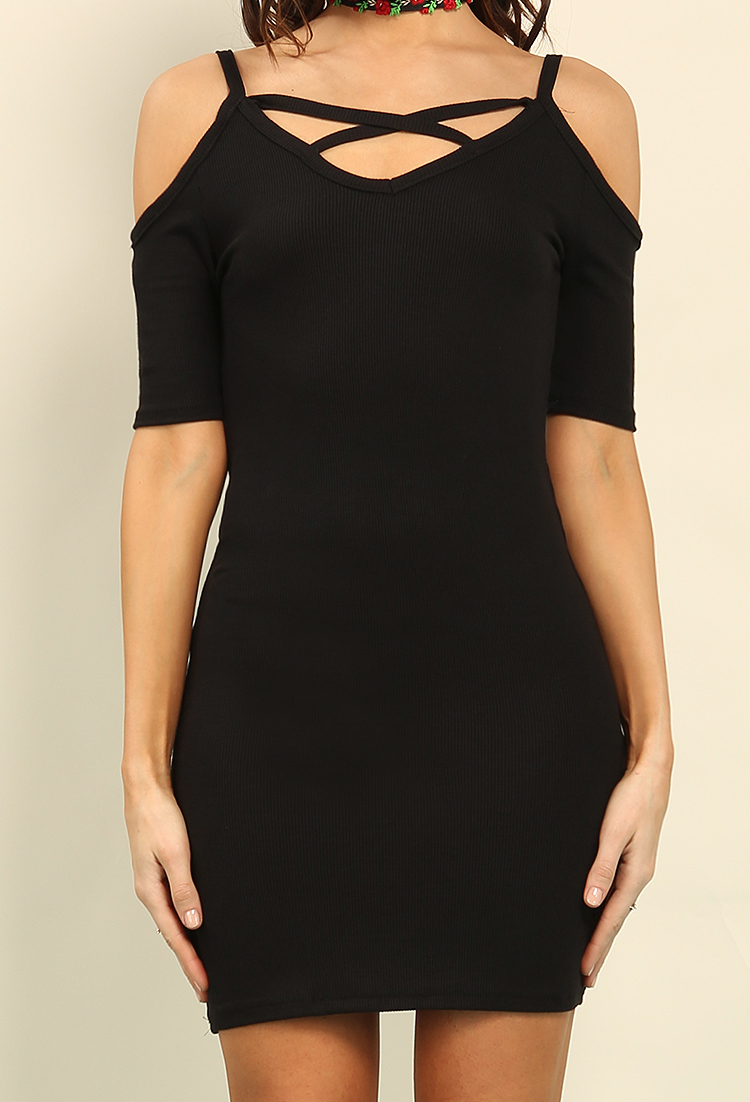 Ribbed Open-Shoulder Crisscross-Front Dress