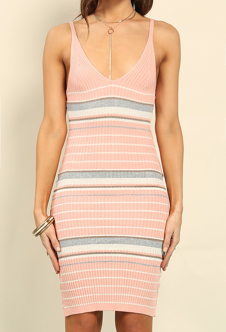 Ribbed Stripe Knit V-Neck Cami Dress