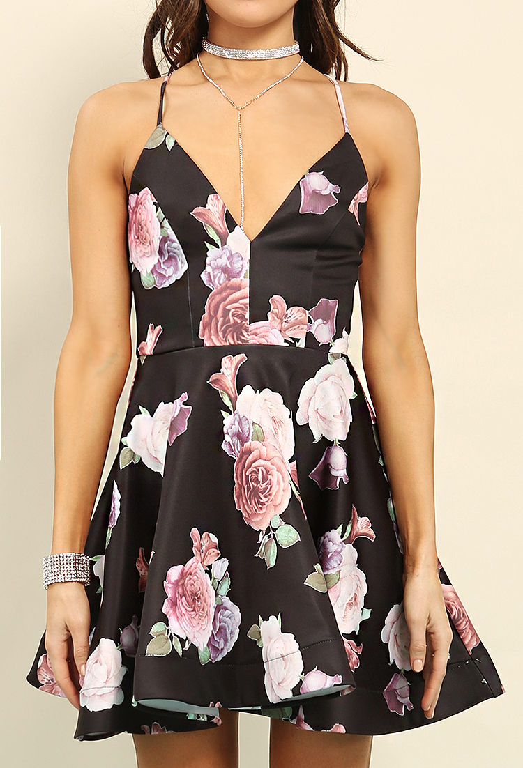Floral Print Lace-Up Back A-Line Dress
