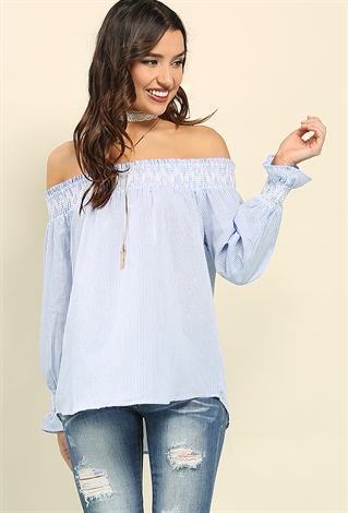 Smocked Chevron Embroidered Off-The-Shoulder Top