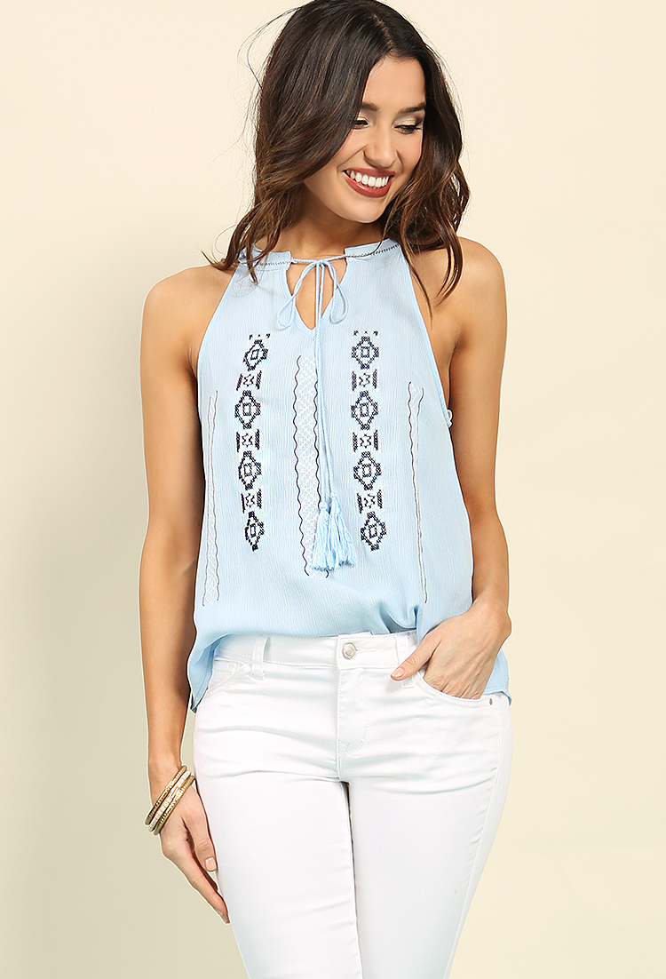 Embroidered Tribal Pattern Self-Tie Tassel Top