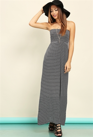Striped tube maxi dress