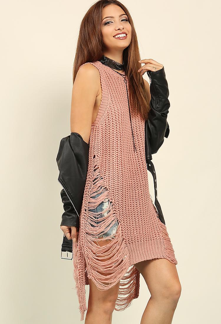 b2ac1b6bdee ... Distressed Ribbed Sweater Dress ...