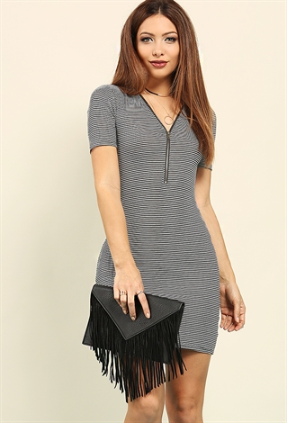 Zippered Stripe Mini Dress