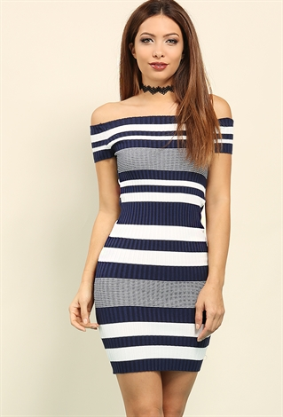 Ribbed Stripe Knit Off-The-Shoulder Dress