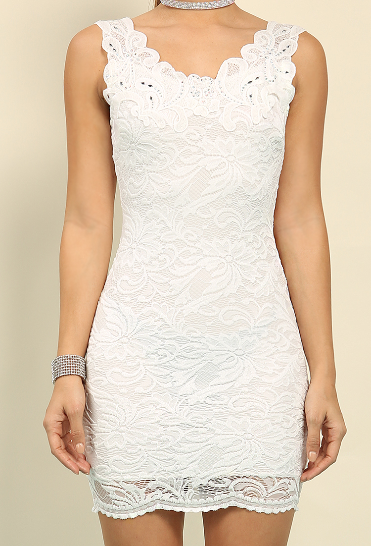 Lace Overlay Rhinestone Detail Bodycon Dress