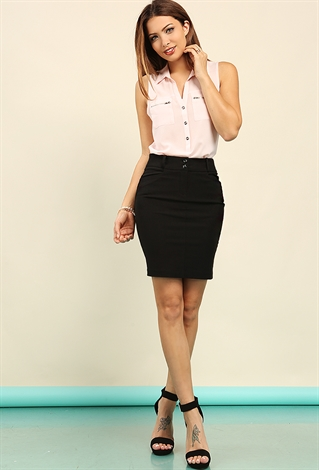 Two Buttons Classic Mini Skirt Shop Office Girl At