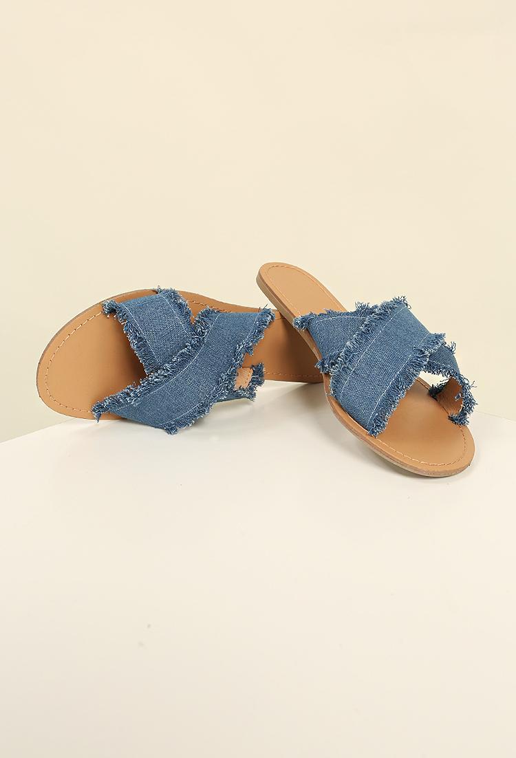 Frayed Crisscross Denim Slide Sandals; Frayed Crisscross Denim Slide Sandals  ...