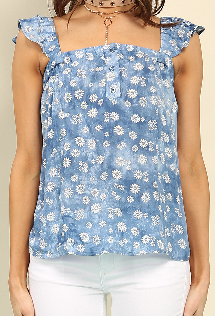Printed Denim Daisy Ruffle Top