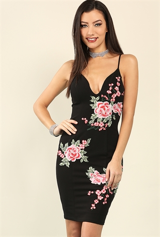 Plunging Rose Applique Bodycon Dress