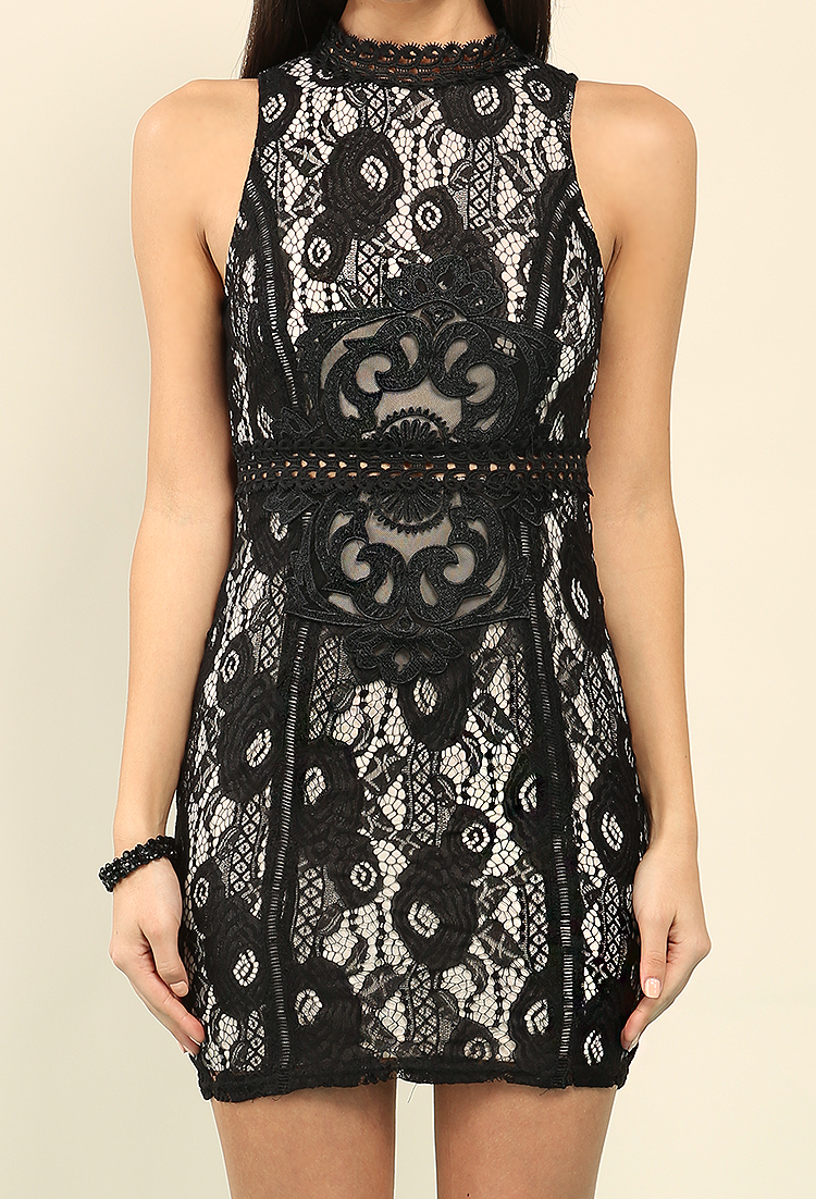 Crochet-Trimmed High Neck Lace Overlay Bodycon Dress