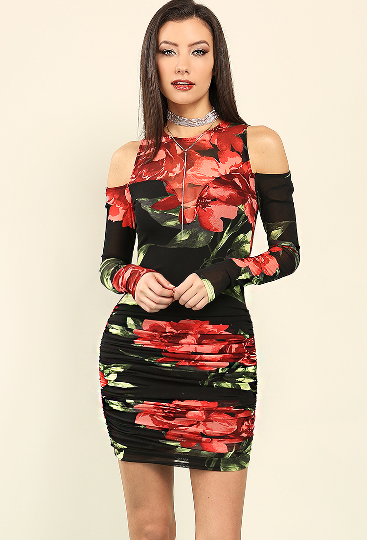 Ruched Mesh-Panel Floral Print Open-Shoulder Dress