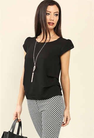 Ruched Cap-Sleeve Chiffon Top W/ Necklace