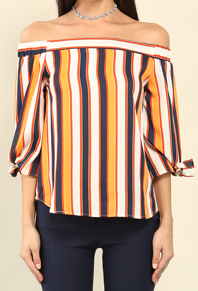 Striped Off-The-Shoulder Self-Tie Top