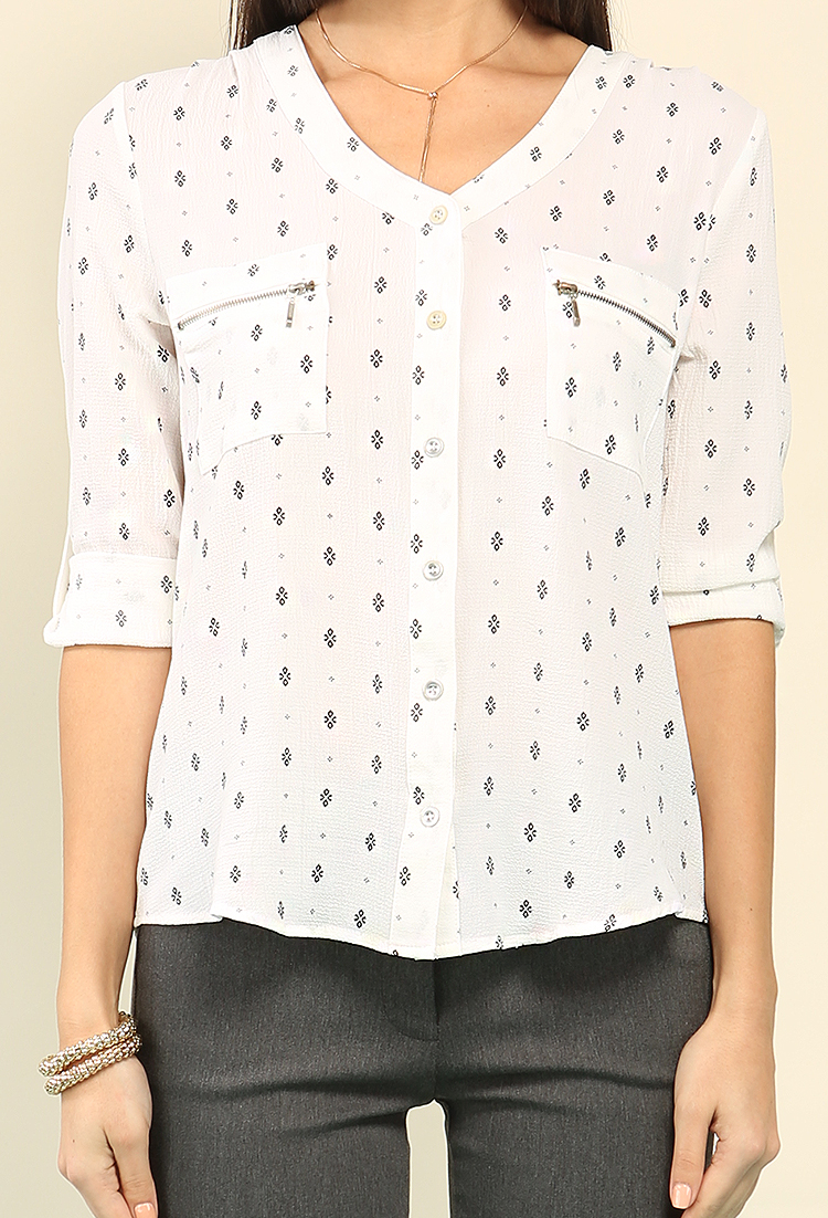 Abstract Printed Zipper Pocket Button-Up Blouse