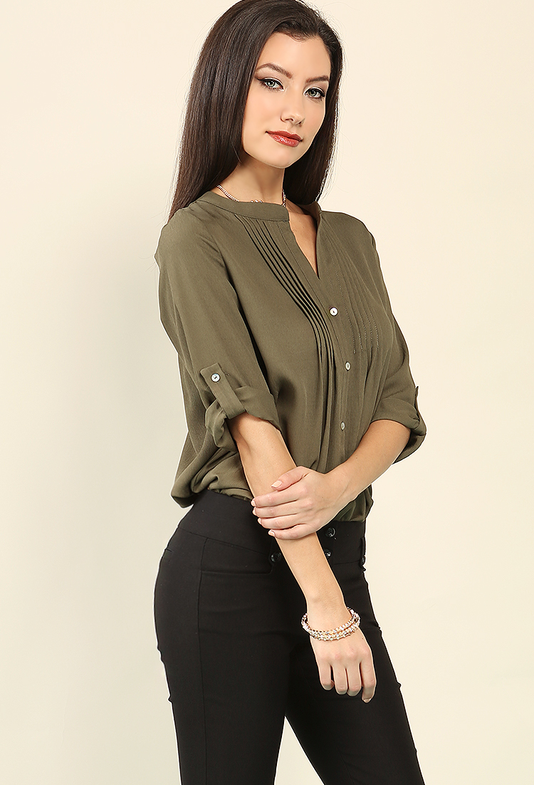 Pleated Button-Up Chiffon Blouse