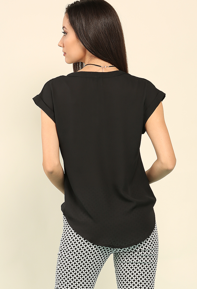 Cap-Sleeved Popover Chiffon Top