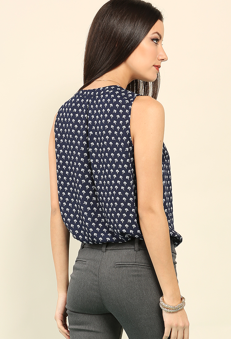 Abstract Printed Popover Blouse