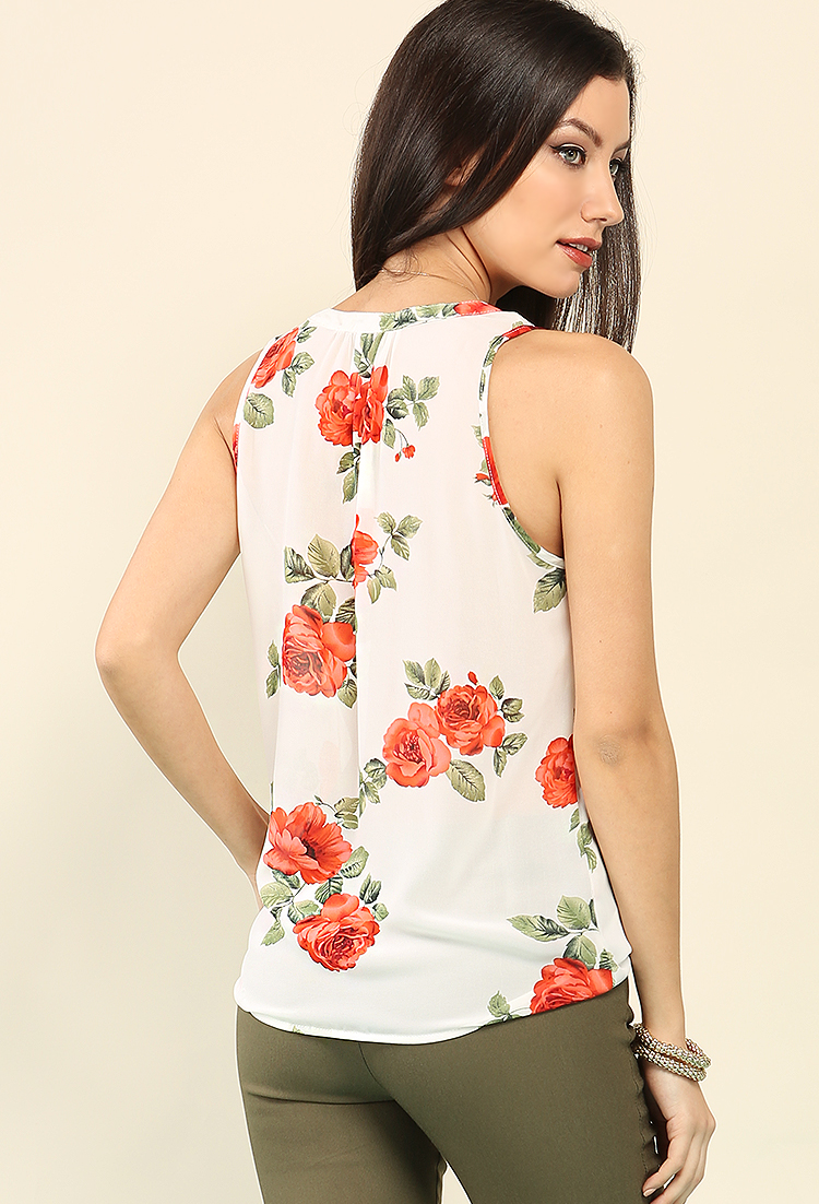 Crochet-Trimmed Floral Print Chiffon Top