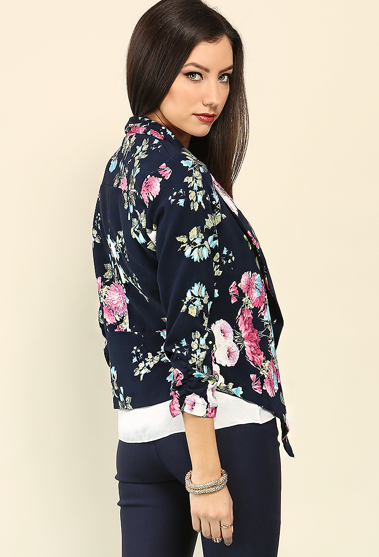 Draped Floral Open-Front Jacket