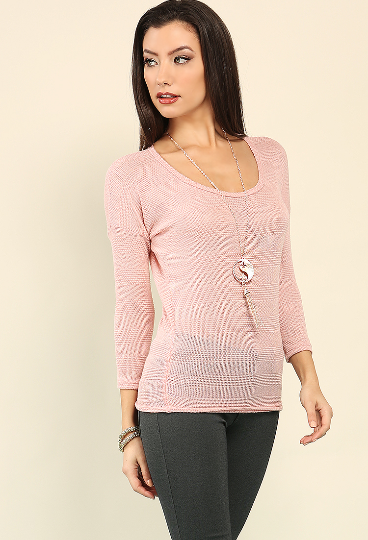Stripe Open Knit Top W Necklace Shop Lightweight At Papaya Clothing