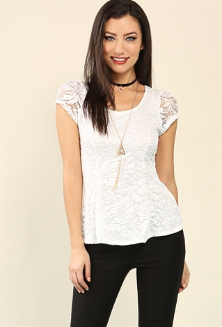 Floral Lace Peplum Top W/ Necklace